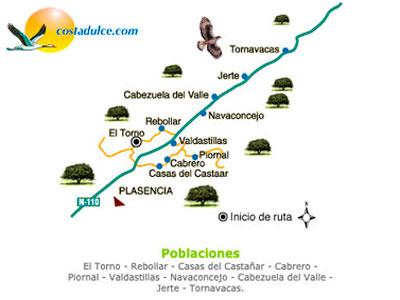 Mapa del valle del Jerte